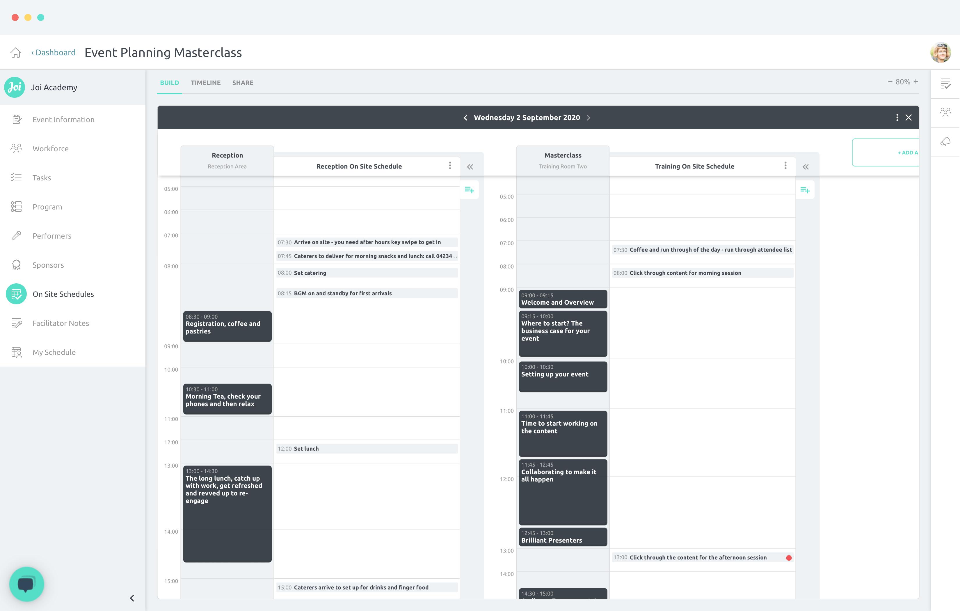 On Site Schedules screenshot