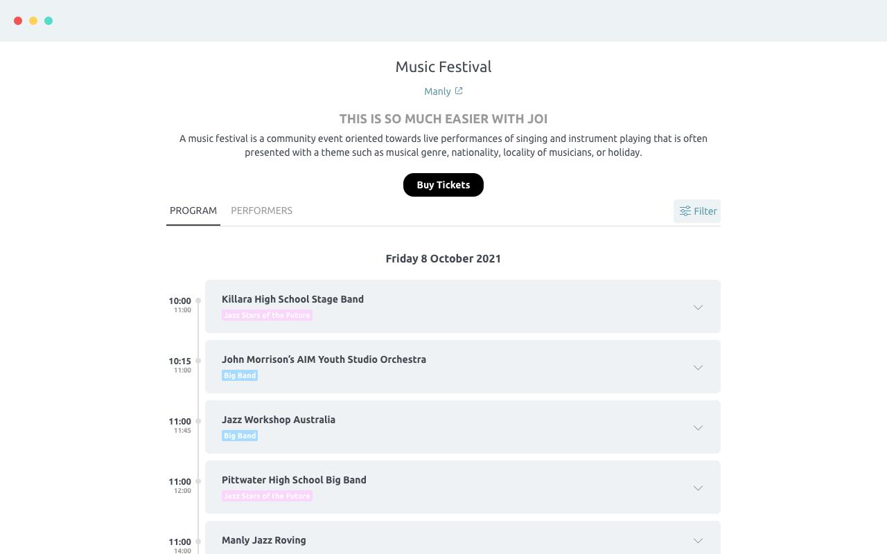 Joi example: festival