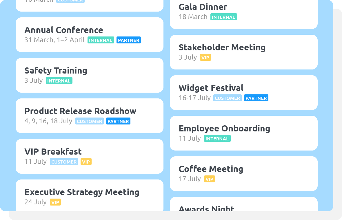 Maximise efficiency in planning events