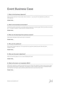 Event Business Case template